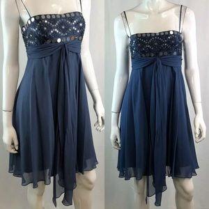 BCBG Maxazria Sequin Beaded Chiffon Mini Dress